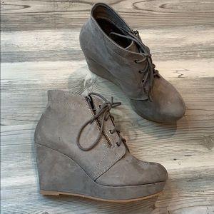 Shoe Dazzle Nivera Grey Booties Heels Zipper
